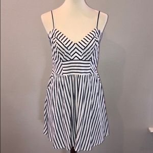 EXPRESS Blue and White Striped Dress with Pockets